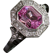 Divine 14kt Natural Pink Sapphire & Diamond Ring