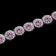 Whimsical Designer 18kt 5.46ctw Pink Sapphire & Diamond Tennis Bracelet