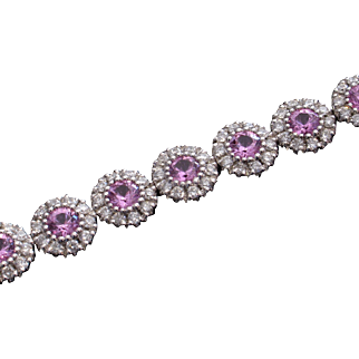 CMCC SALE! Whimsical Designer 18kt 5.46ctw Pink Sapphire & Diamond Tennis Bracelet
