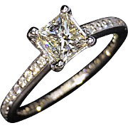 PRICE SLASHED 30%! STUNNING Perfect 18kt Princess-Cut Diamond Engagement Ring