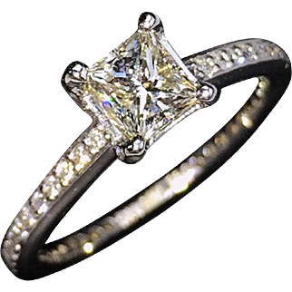 SAVE $395 in our SUPER SUMMER SALE!  STUNNING Perfect 18kt Princess-Cut Diamond Engagement Ring