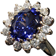 Extremely Beautiful 14kt 'Princess Di' 5.88ct Tanzanite & Diamond Ring