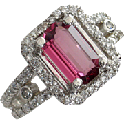 Purplish Red Spinel & Diamond Platinum Ring - Designer Signed