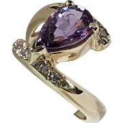 CLEARANCE! Beautiful Unheated Purple Sapphire & Diamond Bypass Ring