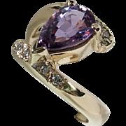Beautiful Unheated Purple Sapphire & Diamond Bypass Ring