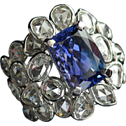 Spectacular Vintage Tanzanite & Rose Cut Diamond Cocktail Ring