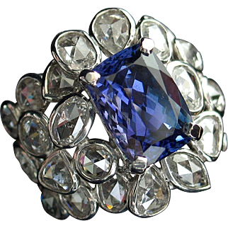 CHRISTMAS CLEAROUT SALE! Save 50%! Spectacular 8.39ctw Vintage Tanzanite & Rose Cut Diamond Cocktail Ring