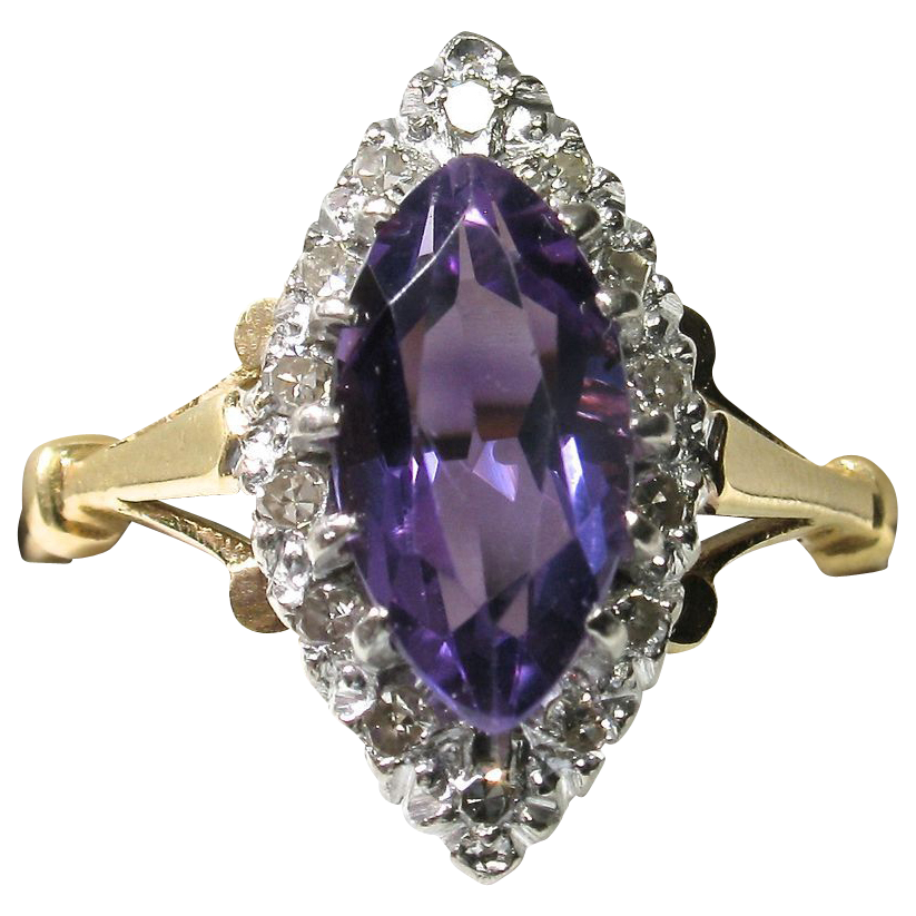 LIQUIDATION SALE! 18k Marquise-Shaped Amethyst And Diamond Dress Ring  +FREE Shipping in Canada & USA