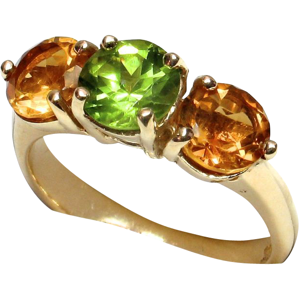 LDL SALE! Stunning 14k Yellow Gold Citrine Peridot Ring