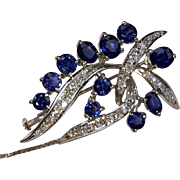 PRICE SLASHED 40%! Glowing 14kt Vintage Sapphire & Diamond Brooch-Pendant & Earrings Set