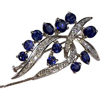 Glowing 14kt Vintage Sapphire & Diamond Brooch-Pendant & Earrings Set