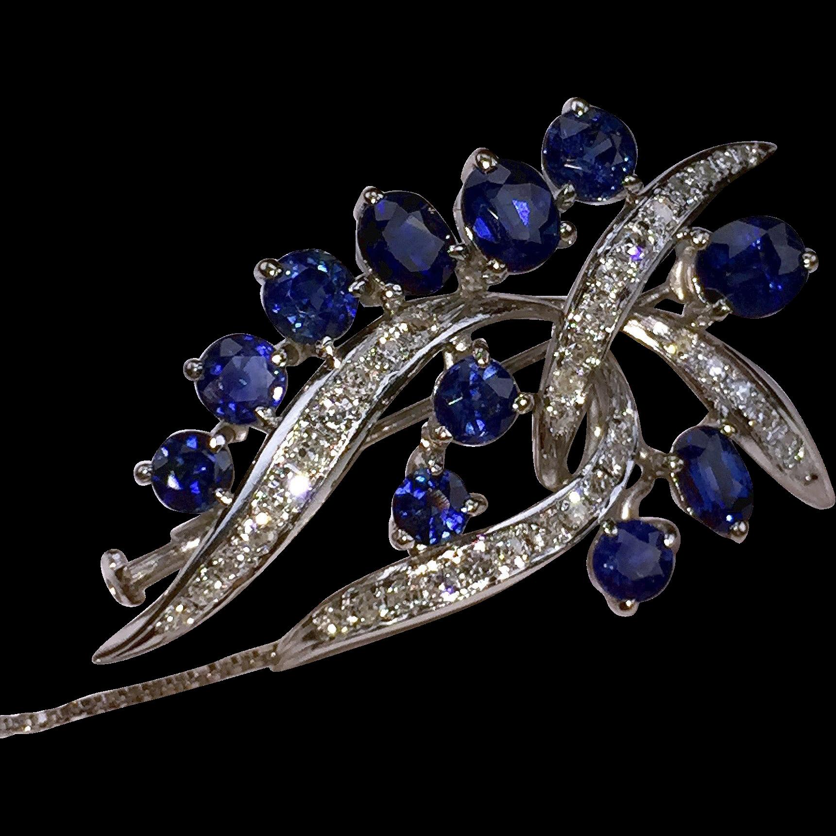 Glowing 14kt Vintage Sapphire & Diamond Brooch-Pendant & Earrings Set