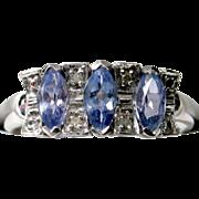 BCS SALE! Lavender Tanzanite Diamond Ring in 14k White Gold