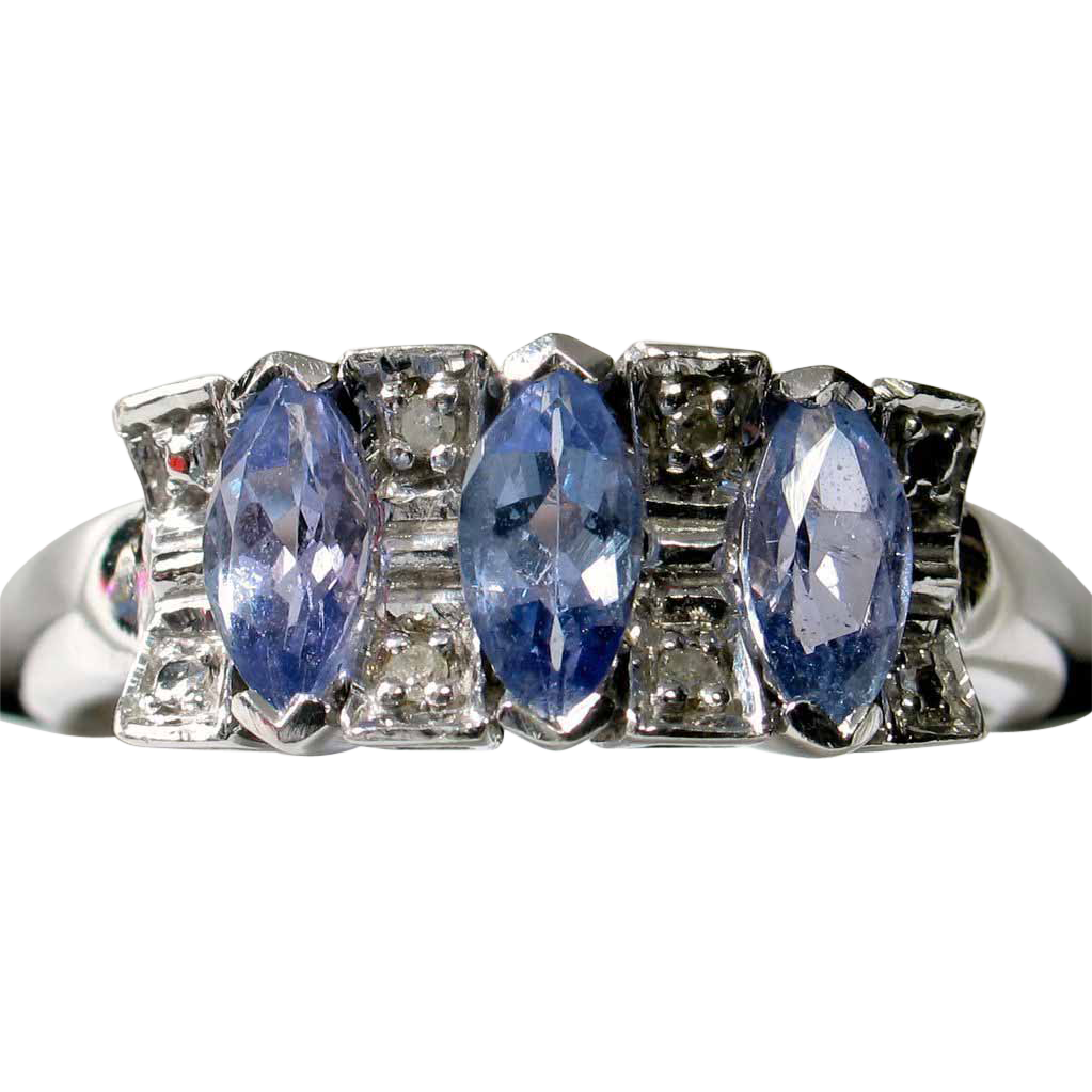 Lavender Tanzanite Diamond Ring in 14k White Gold