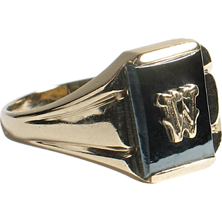 """10k Yellow Gold & Onyx Initial Ring """"W"""""""