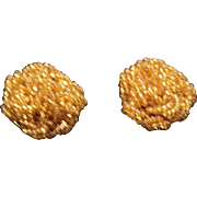 Vintage gold seed beads clip earrings