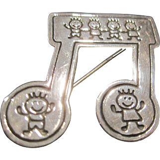 Vintage sterling silver musical notes pin