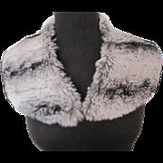 Vintage black white and gray fur collar