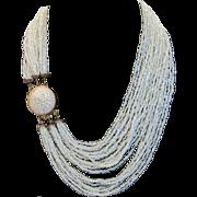 Vintage Italian celadon seed bead necklace