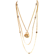 Vintage Goldette triple goldtone chain with fob