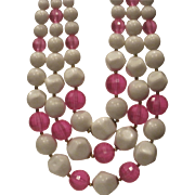 Vintage pink and white popcorn bead triple strand necklace