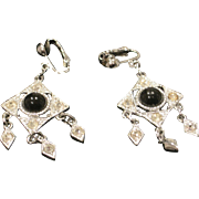 Vintage Sarah Coventry black and silver deco style earrings