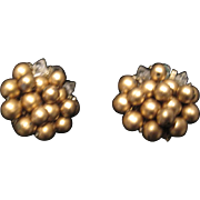 Vintage gold tone beaded clip earrings