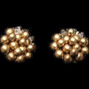 Vintage gold tone beaded clip earrings