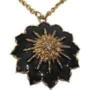 Vintage Jomaz navy and gold tone pendant necklace