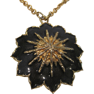 Vintage Jomaz navy and gold tone pendant necklace