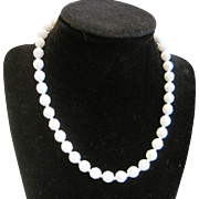 Vintage short white glass bead necklace