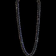 Vintage long black Austrian crystals necklace
