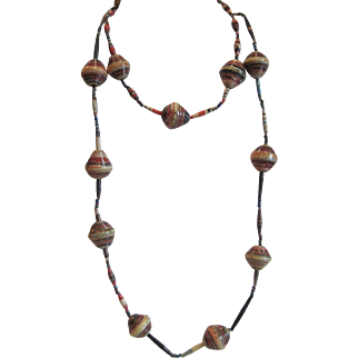 Vintage long African multicolor bead necklace
