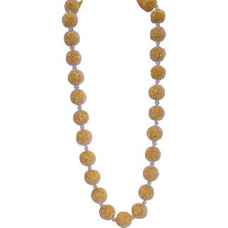 Vintage pale orange ball necklace