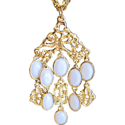 Vintage white glass and goldtone metal pendant necklace