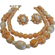Vintage double strand peach textured bead necklace with ears