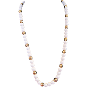 Vintage Napier long white and gold tone beaded necklace