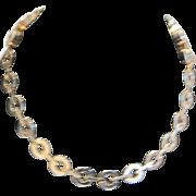 Vintage Reinad gold tone metal industrial design  choker necklace