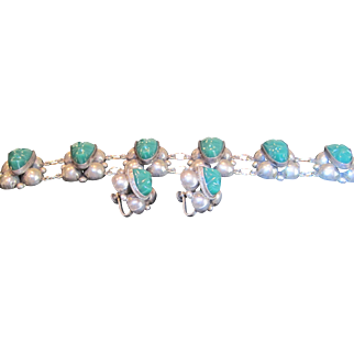 Vintage signed Mexican sterling silver green onyx bracelet and earrings