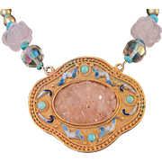 Vintage upcycled pink glass quartz and turquoise necklace