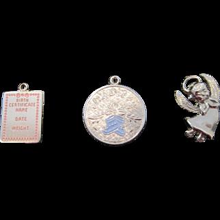 Vintage Sterling Silver baby bracelet charms