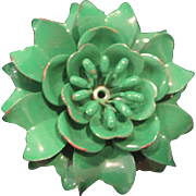 Vintage green metal flower pin