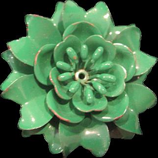 Vintage green metal flower pin