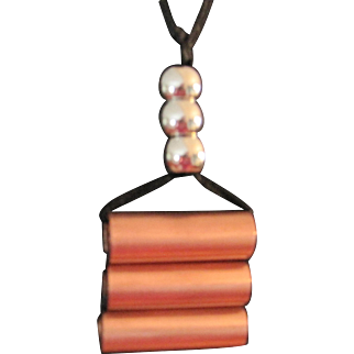 Artisan original copper pendant necklace Modernist design