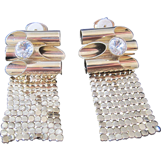 Vintage gold tone metal, mesh and rhinestone clip earrings