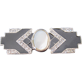 Vintage art deco style black enamel moonstone and rhinestone bar pin