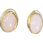 Vintage Trifari pink moonstone post earrings