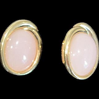 Vintage Trifari pink moonstone post earrings