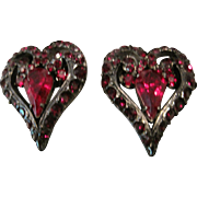 Vintage Jay Strongwater red rhinestone heart shaped earrings