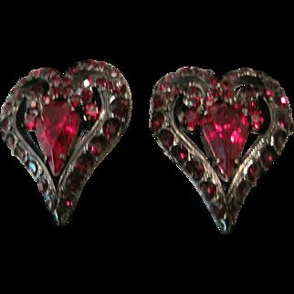 Vintage Jay Strongwater red rhinestone heart shaped earrings